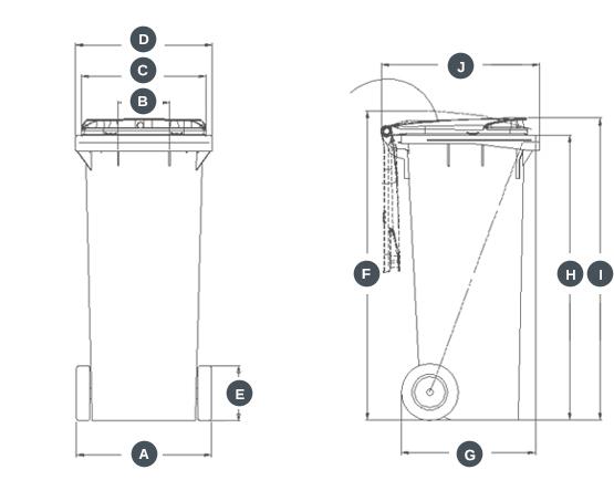 dimensions conteneur bac poubelle 140 Litres