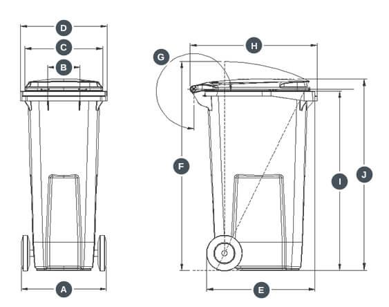 dimensions conteneur bac poubelle 180 Litres