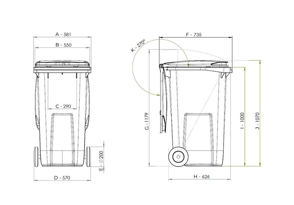 dimensions conteneur bac poubelle 240 Litres