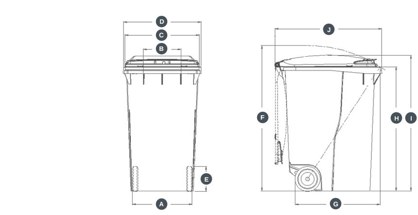 dimensions conteneur bac poubelle 340 Litres
